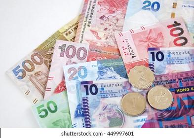 Hongkong dollars money mix banknotes and coins, Hong kong HKD currency for financial.
