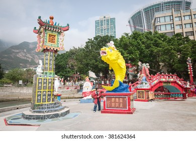 HONGKONG - FEBRUARY 23,2016 : Colorful God statues are located at the Repulse Bay is a quaint Taoist temple which is popular for its colorful mosaic statues of Chinese mythology deities
