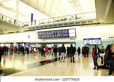 HONGKONG INTERNATIONAL AIRPORT, HONGKONG - FEB, 24: Local and tourist passenger in terminal hall represent airport service and travel industry of hongkong on February 24, 2017 in Lan Tau, Hongkong.