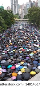 Hongkong Island, near Victoria Park, China - August 18, 2019: A large crowd of people.  A coordinated meeting with hundreds of thousands of people with umbrellas in the city.  the streets are blocked.