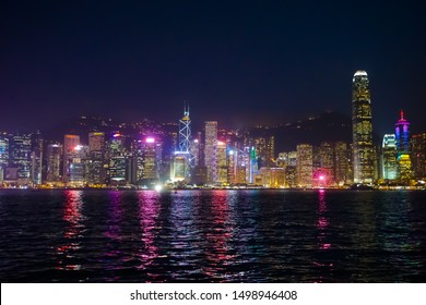 Hongkong - March 2019: Symphony of Lights Night Cityscape