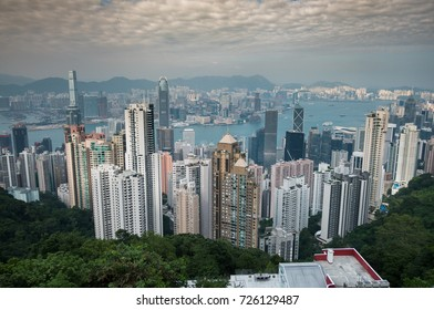 HONGKONG - Oct 13, 2016 : Victoria Harbour  view from a top Victoria Peak in Hong kong