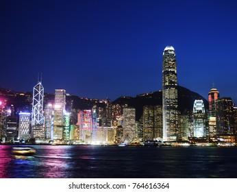 Hongkong - October 11, 2017 - Hongkong CBD skyline at twilight