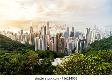 HONGKONG : September 9 : View of Hongkong from Victoria Peak on September 9, 2017 at Hongkong. Hongkong has one of the most beautiful city view in the world.