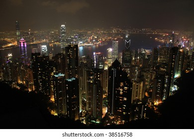 Hongkong skyline at night from the Victoria peak