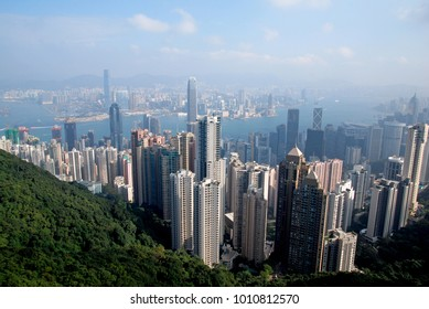Hongkong Skyscraper city view from the peak hongkong