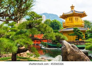 Hongkong Temple Pavilion of Absolute Perfection in the Nan Lian Garden with river, Hong Kong.