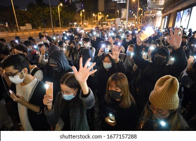 HONGKONG,Admiralty,2019DEC15,a half year memorial day of Mr.Leung,the firstvictim of anti Extradition to China.Under Wuhan plague outbreak emergency,wearing mask for protection of corona virus spread