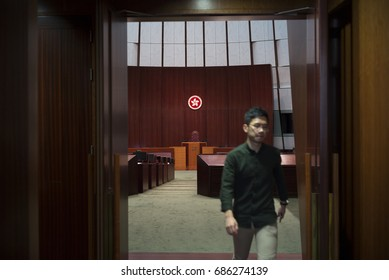 HongKong,China - July 12, 2017:One of the disqualified Hong Kong lawmakers , Nathan Law, leaves the chamber of Legislative Council .