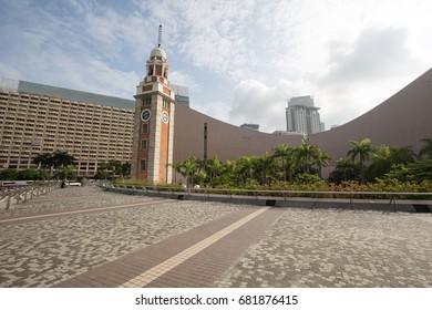 hongkong,china - may,12,2017:Tsim sha tsui clock tower is a famous building in hongkong china.
