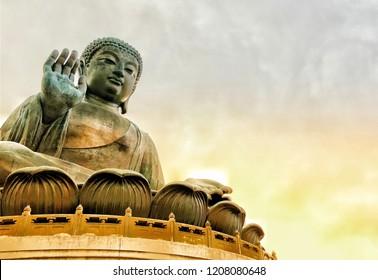 Hongkong,Hongkong/China 09-24-2017 : The Statue of Buddha at Lantau Island Tian Tian