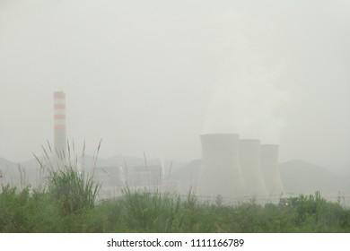 Hongsa power plant (HPC) in the mist at Hongsa District in Lao PDR