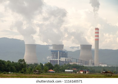 Hongsa power plant (HPC) in the mist at Hongsa District in Lao PDR