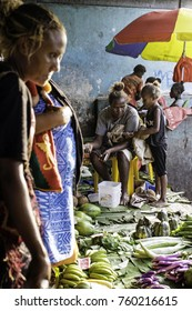 Honiara, Guadalcanal, Solomon Islands, main market, Nov 2017, women and children buy and sell vegetables and fruits at the central market in Honiara