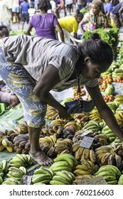 Honiara, Solomon Islands, Guadalcanal, main market, Nov 2017, a woman selling mostly bananas arranges her fruits and display for customers to choose from