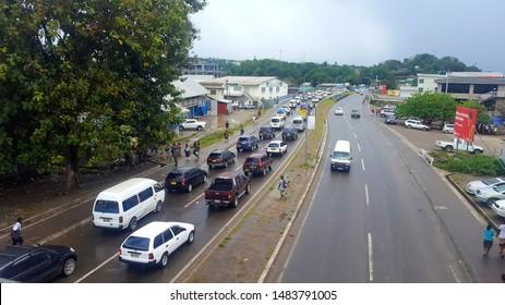 Honiara/Solomon Islands - August 16 2019: Honiara Traffic on a busy Friday. Traffic Jam from the eastern part of Honiara City, Mataniko bridge leading into Pt Cruz the CBD of Honiara.