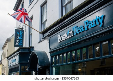 Honiton, Devon / England - April 02 2019 Boston Teaparty announces it is the first cafe in the UK to stop selling disposable takeaway coffee cups leading to a loss of £250,000 in sales