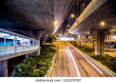 Honk Kong Island, Honk Kong, China. Night city streets view
