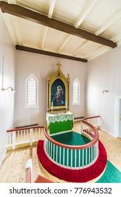 Honningsvag Church, a parish church in Nordkapp Municipality in Finnmark county, Norway.