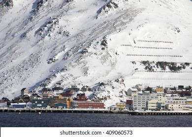 Honningsvag is the northernmost city of Norway. Nordkapp municipality Finnmark county. Norway