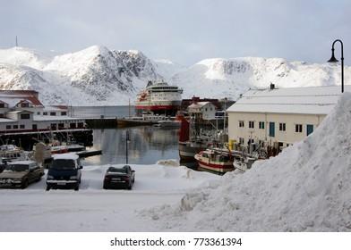 Honningsvag, Norway: 3 March 2012: Stop on the Hurtigruten voyage along Norwegian coast