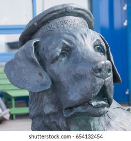 HONNINGSVAG, NORWAY - APRIL 28, 2017: Statue detail of Bamse, the Saint Bernard dog that was a heroic mascot of the Free Norwegian Forces during World War II, in Honningsvag, Norway.