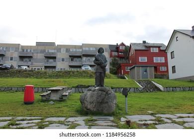 Honningsvag, Norway, August 26th 2018: Fisherman Statue in Honningsvag