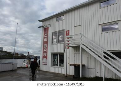 Honningsvag, Norway, August 26th 2018: Ice Bar in Honningsvag