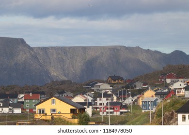Honningsvag, Norway, August 26th 2018: Traditional houses and scenery in Honningsvag