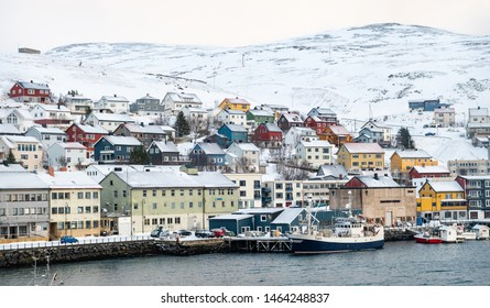 Honningsvag, Norway - Feb 26 2019; A view of the town from the harbour
