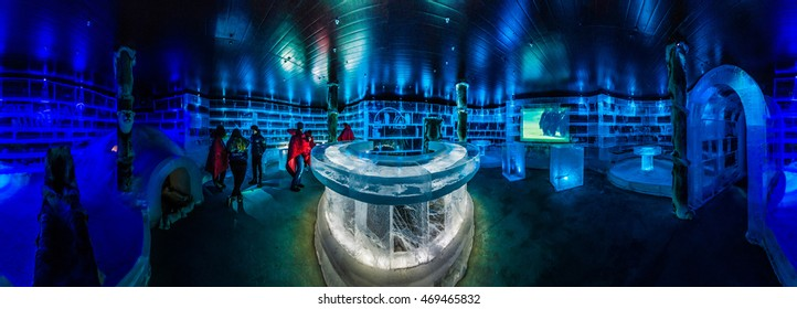 HONNINGSVAG, NORWAY - JULY 01, 2014: The Artico Ice Bar is one of the most important places to visit in Honningsvag, on Mageroya Island in Nordkapp, Norway