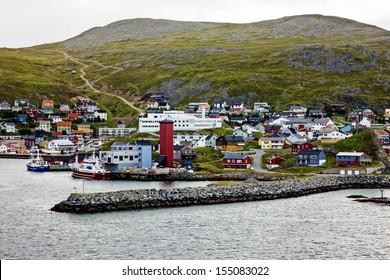 Honningsvag is Norwegian town beyond the Arctic Circle.