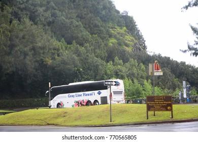 HONOLULU, HAWAII—AUGUST 2015: A Gray Line Hawaii tour bus drives down the road at the Nu'uanu Pali State wayside in Honululu, Hawaii.