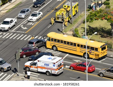 HONOLULU - APRIL 12, 2012: Firefighters and medical response units arrive at the scene of an accident in Honolulu, Hawaii.