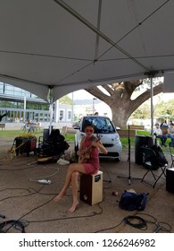 Honolulu - April 19, 2017:  Musician Taimane jams at Earth Day Concert festival on the University of Hawaii, Manoa Campus on Oahu, Hawaii.