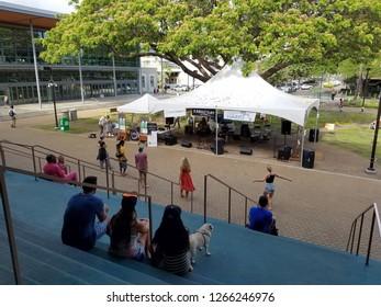 Honolulu - April 19, 2017:  Paul Izak Band jams at Earth Day Concert festival on the University of Hawaii, Manoa Campus on Oahu, Hawaii.