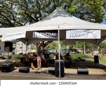 Honolulu - April 19, 2017:  Perfect Wave Band jams at Earth Day Concert festival on the University of Hawaii, Manoa Campus on Oahu, Hawaii.