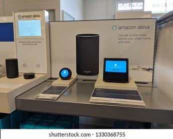 Honolulu -  August 10 2018: Echo Dot (2nd Generation), Dot, Show - Smart speaker with Alexa - Black on display. Similarly to other devices in the family, it is designed around Amazon's virtual