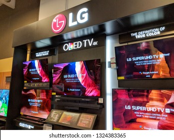 Honolulu -  August 10 2018:  LG OLED TV 4K TV Display inside Best Buy.  LG Corporation, formerly Lucky-Goldstar, is a South Korean multinational conglomerate corporation.