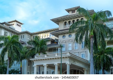 Honolulu, Awaii - April 30, 2019:  The facade of the Moana Surfrider historic hotel in the Waikiki district