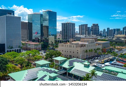 Honolulu, Awaii - May 3, 2019: The downtown buildings seen from the top of the Alhoa tower of the Honolulu Harbor