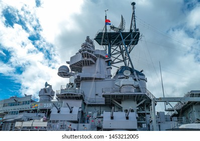 Honolulu, Awaii - May 3, 2019: Pearl Harbor, upward view of the command tower of the Missoury Battleship
