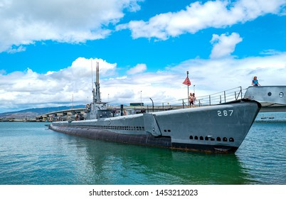 Honolulu, Awaii - May 3, 2019: Pearl Harbor, visitors on the Bowfin submarine