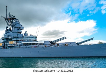 Honolulu, Awaii - May 3, 2019: Pearl Harbor, the Missoury Battleship seen from the bay