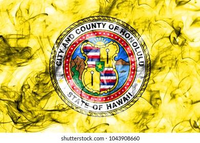 Honolulu city smoke flag, Hawaii State, United States Of America
