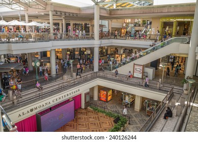 Honolulu, Dec. 24, 2014:  Honolulu's premier shopping mall, Ala Moana Center.  Honolulu, Hawaii, USA.  Dec. 24, 2014