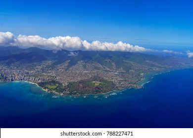 Honolulu and Diamond Head Aerial View Hawaii