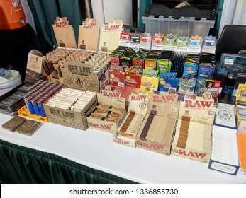 Honolulu - February 10, 2018: Smoking accessories at Booth at the 3rd Annual Hawaii Cannabis Expo at the 3rd Annual Hawaii Cannabis Expo inside the Neal S Blaisdell Exhibition Hall, Honolulu, Hawaii.