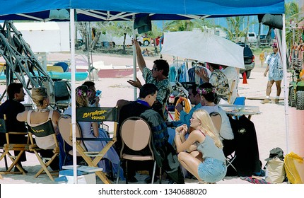"Honolulu, Hawaii, 20th July, 1999  First day of filming ""BayWatch Hawaii.  David Hasselhoff, Jeremy Jackson, Brooke Burns, take a break from filming the wedding scene on the set of ""Baywatch Hawaii"""