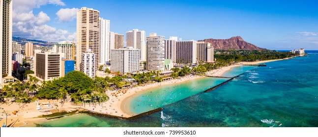 Honolulu, Hawaii. Aerial skyline view of Honolulu, Diamond Head volcano including the hotels and buildings on Waikiki Beach.